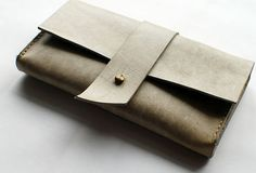 Handmade vintage retro rustic simple envelope Stitched leather long wallet for women/lady girl