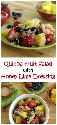 Quinoa Fruit Salad with Honey Lime Dressing that's a copycat of the famed dressing served at Disney's 'Ohanas restaurant #glutenfree #vegan