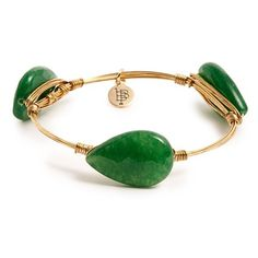 Bourbon and Boweties Stone Bangle ($38) ❤ liked on Polyvore featuring jewelry, bracelets, green, green jewelry, hinged bracelet, green bangle bracelet, teardrop jewelry and green stone jewelry