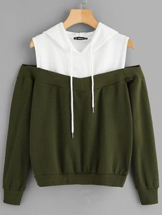 To find out about the Cold Shoulder Two Tone Hoodie at SHEIN, part of our latest Sweatshirts ready to shop online today! Cute Comfy Outfits, Cool Outfits, Vetement Fashion, Teen Fashion Outfits, Aesthetic Clothes, Fashion News, Hoodies, Hoodie Sweatshirts, Glamour
