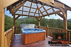 Spacious, awesome 3-story log cabin in private, gated log-home community, sleeps 10, 3 bedrooms, 2 queen sleepers, 4 TVs, and so much more! You will LOVE this cabin! There is a wraparound wooden deck on the main level with several wooden rockers for your enjoyment and a convenient gas grill. The relaxing hot tub is located is a separate gazebo attached to the deck.