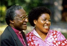 Desmond Tutu and his wife Leah in Johannesburg on October 23, 1984 after he was announced as Nobel Peace Prize