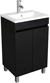 Bathjoy 20 Inch Black Single Wood Bathroom Vanity Cabinet With