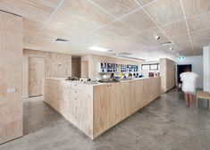 """""""Clare Cousins Architects have re-designed this office block in North Melbourne into their own workspace shared with a construction company."""" Blackwood Street Bunker by Clare Cousins Architects clare cousins architects office space melbourne 6 Australian Interior Design, Interior Design Awards, Interior Design Inspiration, Plywood Interior, Plywood Walls, Plywood Ceiling, Plywood Cabinets, Commercial Design, Commercial Interiors"""