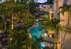 Caribbean Village rooms overlooking the beautiful Sandals Barbados landscape and sparkling lagoon pool. | Sandals Resorts | Barbados