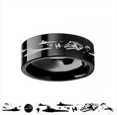 Star Wars A New Hope Death Star Space Battle Black Tungsten Ring Episode IV - Star Wars Jewellery - Fashionable Star Wars Jewellery - -
