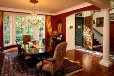 Curtains are very GOLD!!  Dining Room - traditional - Dining Room - Minneapolis - Bob Michels Construction, Inc.