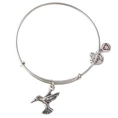 Hummingbird Charm Bangle, RAFAELIAN SILVER Finish