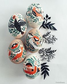 "Hello there! Five of these painted porcelain eggs are available for grabs at www.mirdinara.com/eggs (link in the profile). Painted with acrylics. Approximate size 2,5""X1,5"". $100 #mirdinaraeggs #eastereggs"