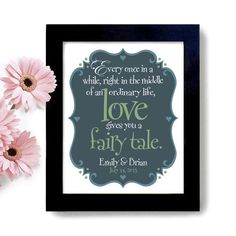 Fairy Tale Wedding Quote - Art Print - Unique Engagement or Bridal Shower Gift - Personalized Wall Art
