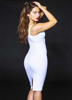 Maryam in the White Ponte Tank Dress from American Apparel. Coming SOON! #white #dress #sexy #pencil
