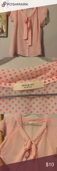 Margret By Be Cool - Star Patterned Blouse Great star blouse with loose sleeves and tie in front. 19 inches armpit to armpit. Sheer material that would look cute dressed up in a blazer or with a Cardigan margret Tops Blouses