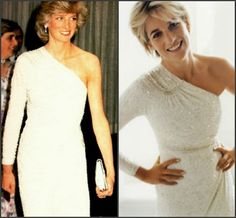 Worn: 1983 March Australia. 1983 June Private ball in Romsey. 1985 Dinner at National Gallery Washington, DC, USA. 1986 State visit to Japan. 1997 (abt Apr) at the photo shoot with Mario Testino for Vanity Fair published in July 1997. Evening dress of draped cream silk chiffon by Hachi, embroidered with translucent gold glass beads and crystals.