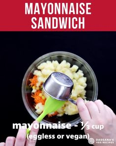 This Mayonnaise Sandwich is a tasty and easy-to-prepare cold vegetarian sandwich made with a mild veggie mayo stuffing. This light sandwich is perfect for a summer picnic or to serve as a finger snack during parties. Try it today! Easy Appetizer Recipes, Snacks Recipes, Veg Recipes, Indian Food Recipes, Healthy Indian Snacks, Healthy Food, What's Cooking, Cooking Recipes, Amazing Food Hacks