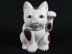 Maneki Neko - Painted Pottery. Circa Early to Mid 20th Century.
