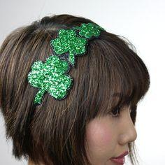 St Patricks Shamrock glitter headband