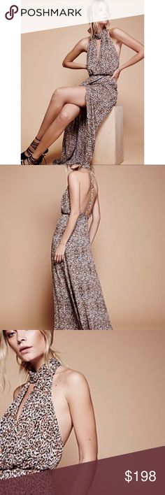 Free People Animal Instinct Cheetah Maxi Dress Beautiful maxi dress featuring a fierce animal print and flowy femme shape with a defined waist. Front wrapped detail creates a pretty side slit. Elegant high neckline with a cute front cutout and strappy racerback design. Hidden back zipper closure and hook-and-eye closures at the neck. Lined. Free People Dresses Maxi