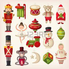 игрушки: Набор красочных ретро деревянные елки игрушки.