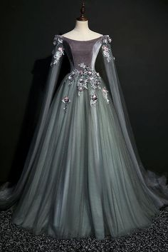 Green gray tulle long sleeve a line evening dress, long velvet prom dress Green Gray Tulle Long Sleeve Prom Dress, A Line Evening Dress, Long Velvet Prom Dress de bal longues Prom Dresses Long With Sleeves, Cheap Prom Dresses, Homecoming Dresses, Dress Long, Dress Prom, Long Dresses, Maxi Dresses, Long Sleeve Gown, Ball Gown Dresses