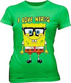 Spongebob Squarepants I Love Nerds Green Juniors T-shirt Tee X-large - Brought to you by Avarsha.com
