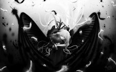 air feathers kamio_misuzu kunisaki_yukito long_hair monochrome wings
