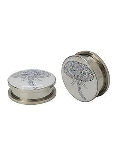 "A pair of 316L surgical steel spool plugs with glitter accented tribal elephant designs. Back screws on and off.<ul><li> 316L surgical steel</li><li>1/2"" wearable length</li><li>Imported</li></ul>"