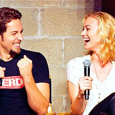 """That's a  lot of sexy time!"" Ahh the love between them. Zachary Levi and Yvonne Strahovski :)"