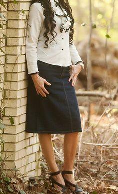 "Knee Length Dark Denim Skirt 25.5"" long available in S-3XL. - Apostolic Clothing #modest #jean #skirts"