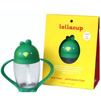 The Lollacup helps kids learn to drink from a straw for the first time. The narrow straw limits the flow so your tot won't choke. #registry