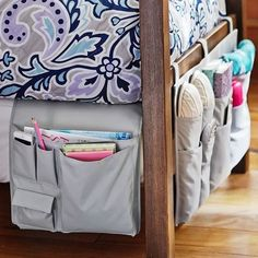 Speaking of your bed, make the most out of it with these convenient, space-saving organizers. | 19 Perfect Little Tips To Make The Most Of Your Dorm Room