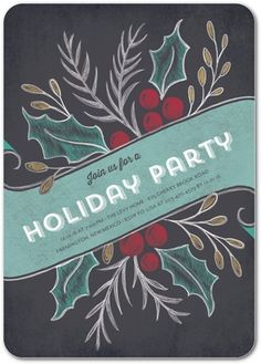 Bundle of Holly - Flat Holiday Party Invitations - Lady Jae Designs - Mist…