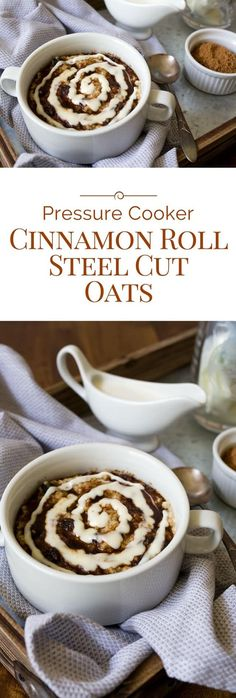 Why have plain boring oatmeal when you can have Pressure Cooker Cinnamon Roll Steel Cut Oats topped with brown sugar cinnamon and a swirl of cream cheese icing.
