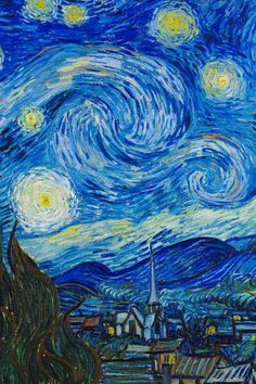 Vincent van Gogh - The Starry Night, 1889. This painting is classified as one of the most brilliant pieces of art he created. It is also said that it started to reflect his madness as he was very interested in the astronomical investigations. I really like this painting. The color, the technique in my opinion is incredible. The fact that he was able to capture a night scene and make it so bright is amazing. To me, this is one of the best interpretations of a night sky.