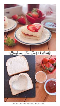 Make this lovely strawberry jam sandwich hearts with fresh strawberries slices, crunchy peanut butter, and homemade Florida strawberry jam. A perfect treat for a sweet Valentine's breakfast or lunchbox treat. Valentines Breakfast, Valentines Day Food, Mothers Day Breakfast, Valentine Party, Tea Party Birthday, Afternoon Tea Parties, Afternoon Tea Recipes, Princess Tea Party, Strawberry Jam