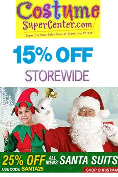 Costume SuperCenter Promo Code: Get 15% Off Sitewide and Get 25% Off All Mens Santa Suits!