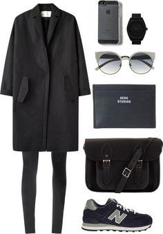 Outfit in schwarz-grau. Wollmantel, Sneaker und Sonnembrille.