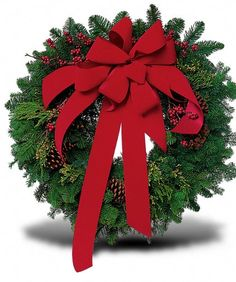 Wreath with Red Velvet Bow :-This classic winter wreath will greet holiday visitors with the warmest of wishes. Just the right touch. A evergreen wreath arrives decorated with berries and pinecones, and is tied with red velvet ribbon. Christmas Flower Arrangements, Christmas Flowers, Beautiful Flower Arrangements, Christmas Trees, Christmas Decor, Holiday Gift Guide, Holiday Gifts, Making Bows For Wreaths, Flower Subscription