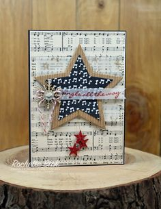 handmade card from The Stamp Review Crew - Jingle All the Way Edition .. music theme with die cut stars .. luv the textures of glitter paper and corrugated kraft ... die cut stars on sheet music background ... Stampin' Up!