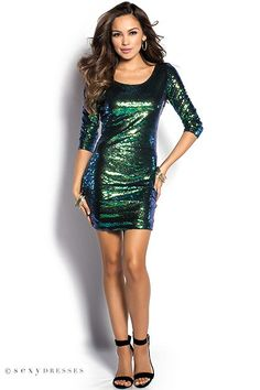 """Christmas/New Years' Dress """"Kylie"""" Emerald Green Short Sequin Party Dress with Sleeves"""