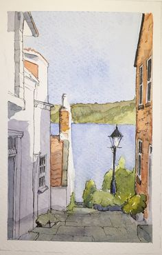pencil drawings - A watercolour sketch of a view to the sea in Runswick Bay North Yorkshire Arte Sketchbook, Watercolor Sketchbook, Watercolor Drawing, Watercolor Landscape, Abstract Watercolor, Watercolor Illustration, Painting & Drawing, Watercolor Paintings, Simple Watercolor