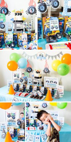 New monster truck theme birthday baby shower ideas Festa Monster Truck, Monster Trucks, Monster Party, Colorful Birthday Party, Cars Birthday Parties, 4th Birthday, 5th Birthday Ideas For Boys, Monster Jam, Truck Birthday Cakes