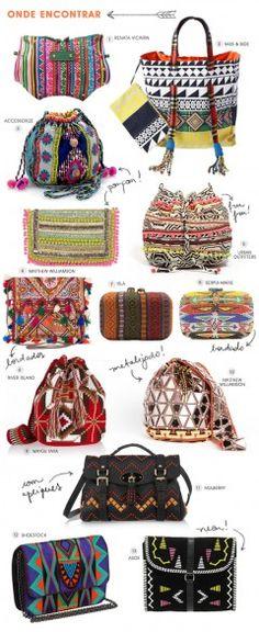 Achados da Bia   Tendência   Bolsa   Étnica   Tribal   Asteca   Pompom   Bordado   Pingente