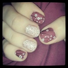 Jamberry Nails white romance and marsala in bloom