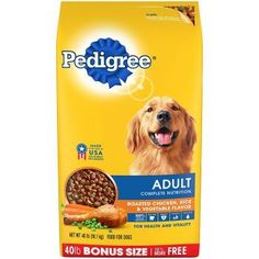 PEDIGREE Adult Complete Nutrition Roasted Chicken, Rice & Vegetable Flavor Dry Dog Food is formulated to give dogs all of the energy and nourishment they need to continue living life to the fullest. This chicken-flavor Roast Chicken And Rice, Chicken Rice, Roasted Chicken, Grilling Recipes, Dog Food Recipes, Diet Recipes, Whole Grain Wheat, Complete Nutrition, Dry Dog Food