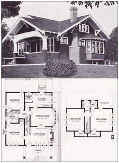 The Varina - Bungalow - 1923 Craftsman-style from the Standard Homes Compa. - The Varina – Bungalow – 1923 Craftsman-style from the Standard Homes Company – House Pl - Craftsman Bungalow House Plans, Bungalow Floor Plans, Craftsman Style Homes, Craftsman Bungalows, House Floor Plans, Bungalow Homes Plans, Craftsman Floor Plans, Bungalow Ideas, Craftsman Interior