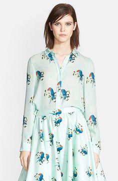 Alice + Olivia parrot print silk shirt