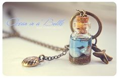Ocean in a Bottle necklace. Vial necklace with door 13thPsyche