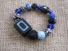 Black Mahjong Tile Bracelet - Jesse James Beads Jewelry - Mahjong Jewelry by MahjongJewelry on Etsy