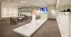 Jasmine Galleria - Lombard, Illinois Bridal Dress Store Runway Interior Design // The Dobbins Group Bridal Dress Stores, Wedding Dress Boutiques, Wedding Dress Shopping, Bridal Dresses, Bridal Boutique Interior, Boutique Interior Design, Boutique Decor, Fashion Boutique, Ideas