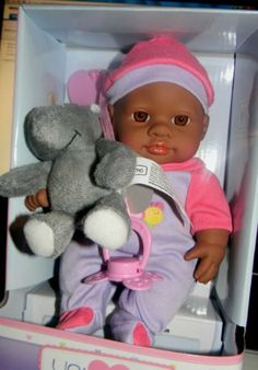 """YOU & ME MINI APPROX. 8"""" BABY DOLL AA PLAY SET - SO CUTE by Geoffrey Toys R Us. $10.99. magnetic pacifier. 9"""" baby doll. small stuffed animatl. YOU & ME MINI APPROX. 8"""" BABY DOLL AA PLAY SET - SO CUTE - AFRICAN AMERICAN BABY DOLL"""